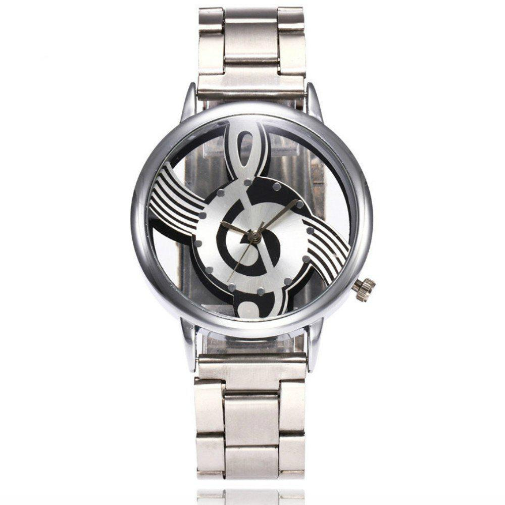 Cheap New  Fashion Hollow Music Note Notation Stainless Steel Quartz Wristwatch