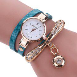 Women Leather Rhinestone Analog  Quartz Wrist  Harajuku Watches Bracelet -