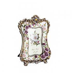 bz-08 Painted Rose Resin Photo Frame -