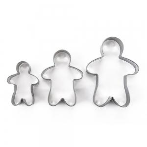 3шт из нержавеющей стали Gingerbread Man Cookie Cutter Cake Biscuits Decorating Tool -