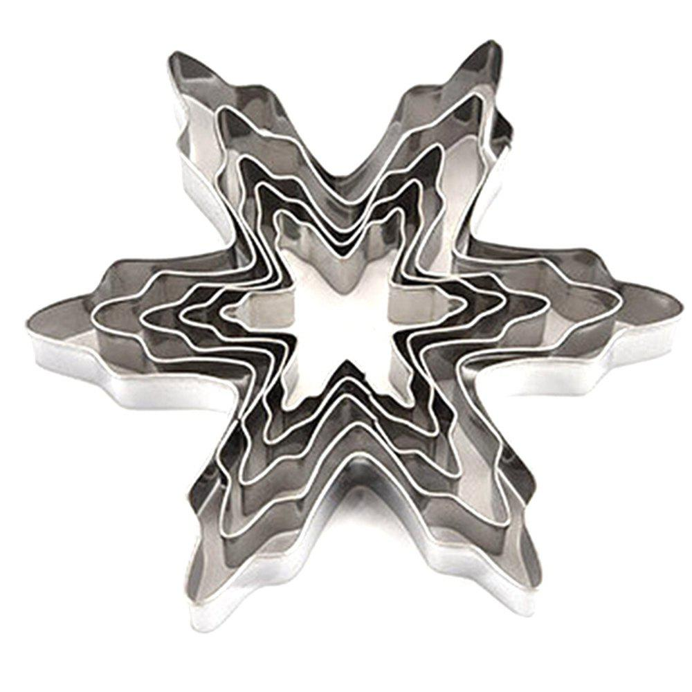 Online 5pcs Stainless Steel Snowflake Shaped Cookie Cutter Mold Cake Pastry Baking Tool