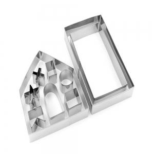 10pcs 3D Gingerbread House Stainless Steel Christmas Scenario Cookie Cutter Set -