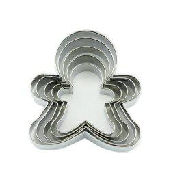 5pcs Stainless Steel Gingerbread Man Cookie Cutter Cake Biscuits Decorating Tool -