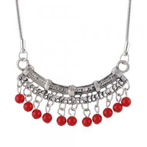 Blue Stone Red Beads Geometric Pendant Necklace -