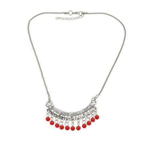 Shops Blue Stone Red Beads Geometric Pendant Necklace