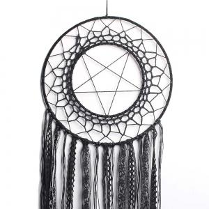 New Style Handcrafted Black Lace Tassel Round Star Dreamcatcher Pendant -