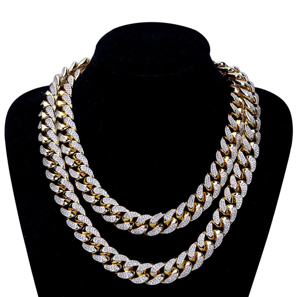 Store Hip Hop 18K Copper Gold Plated Mcro Cubic Zircon Chain Necklace