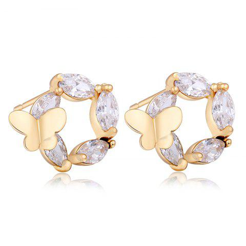 Chic Fashionable Butterfly Flower Lovers Exquisite Zircon Earrings ERZ0263