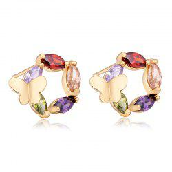 Fashionable Butterfly Flower Lovers Exquisite Zircon Earrings ERZ0263 -