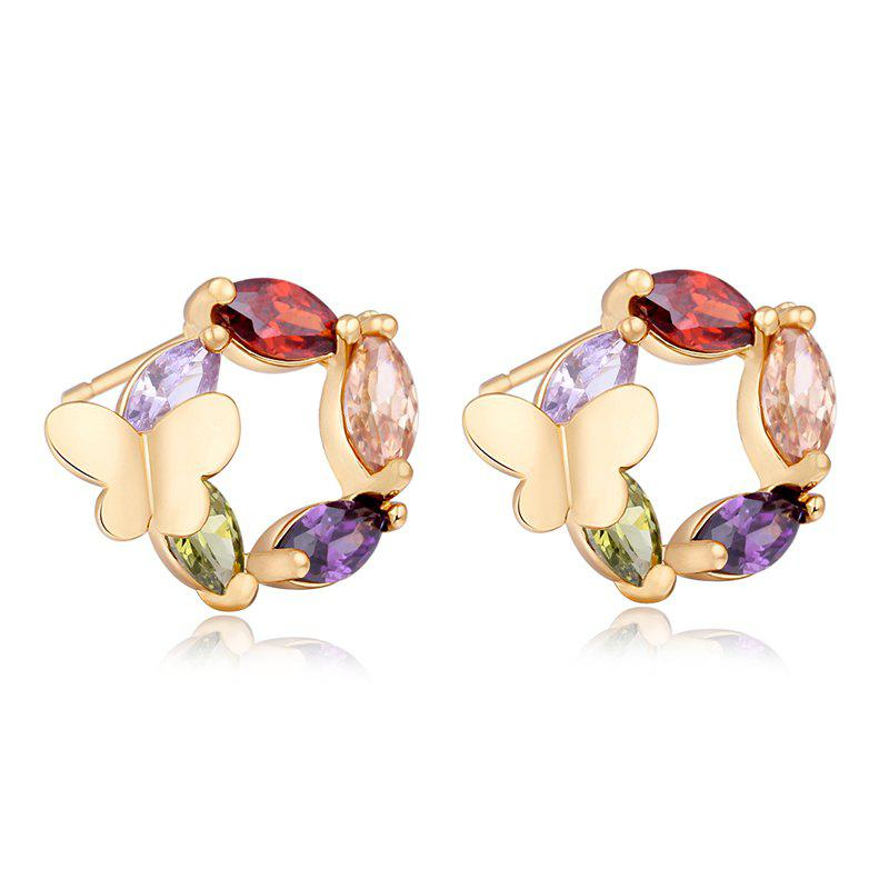 Affordable Fashionable Butterfly Flower Lovers Exquisite Zircon Earrings ERZ0263