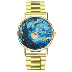 ZhouLianFa Fashion Unisex Stars Sky Design Casual Leisure Moon Phase Dress Watch -