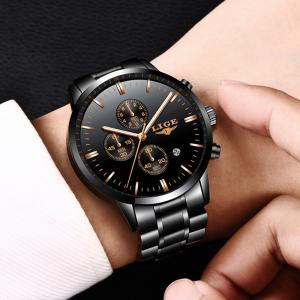 LIGE Luxury Chronograph Men Military Sports Waterproof Dress Watches -