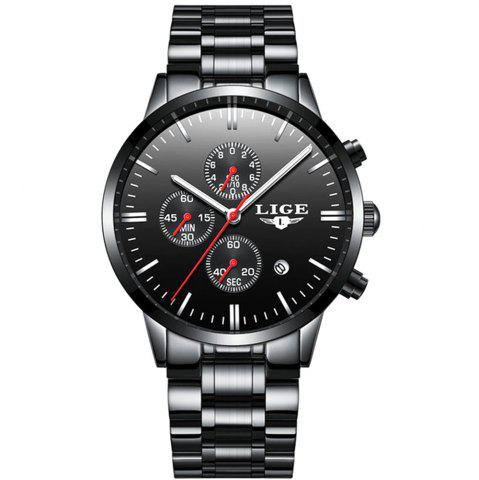 Discount LIGE Luxury Chronograph Men Military Sports Waterproof Dress Watches