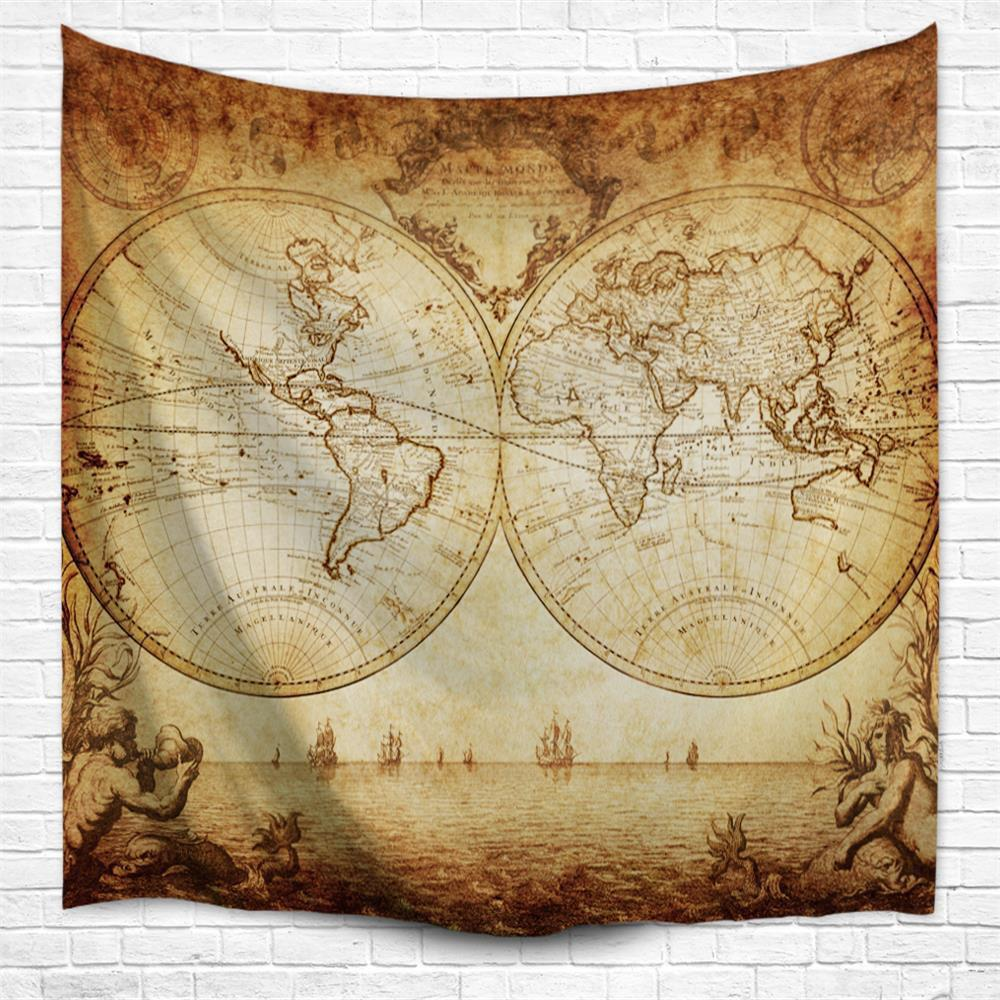 Multi A W230cmxl180cm World Map 3d Printing Home Wall Hanging ...