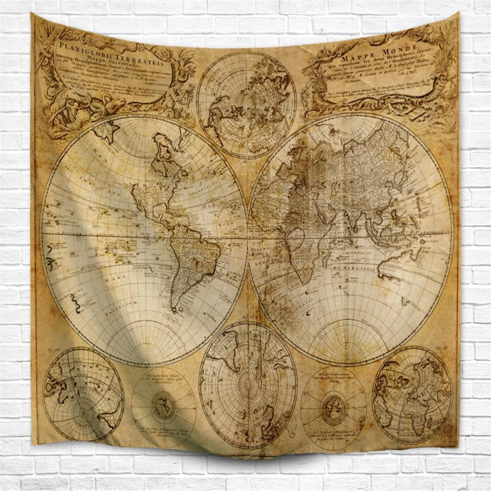 Fancy Multifaceted World Map 1746 3D  Home Wall Hanging Tapestry for Decoration