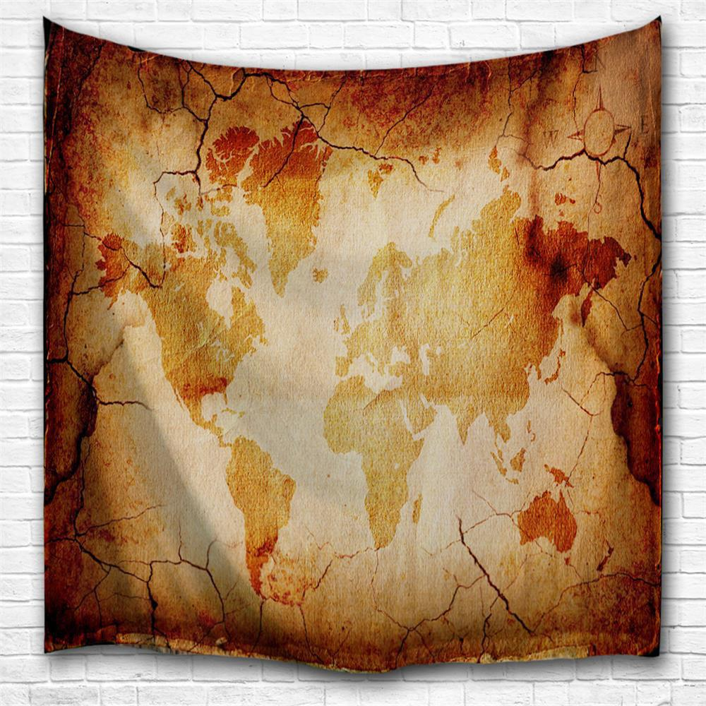 Outfit Retro Map 3D Printing Home Wall Hanging Tapestry for Decoration