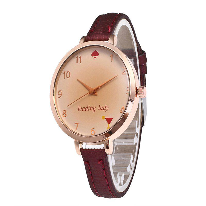 Trendy Tawny Alphabet Leather Watch