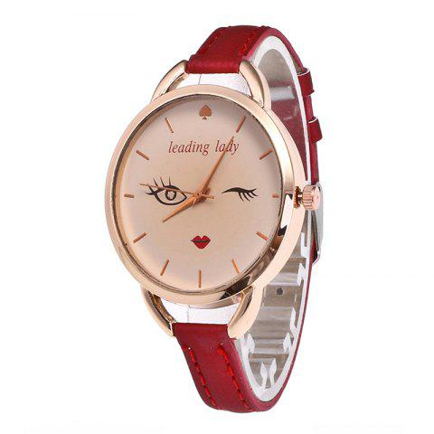 Discount Big Eyes Red Lipstick Women Quartz Watch