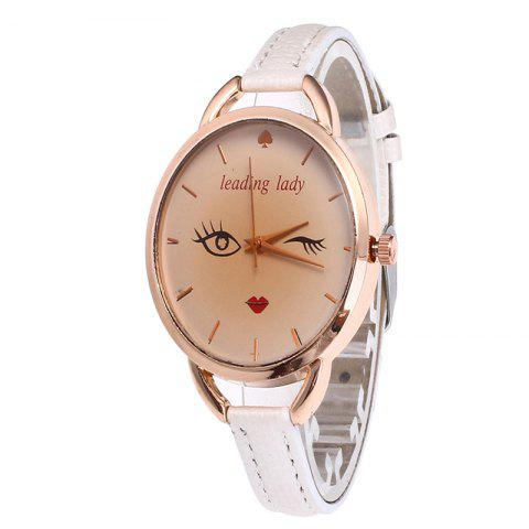 Fashion Big Eyes Red Lipstick Women Quartz Watch