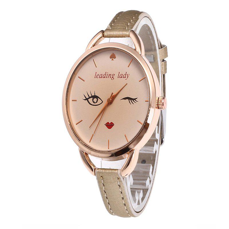 Big Eyes Red Lipstick Femmes Quartz Montre