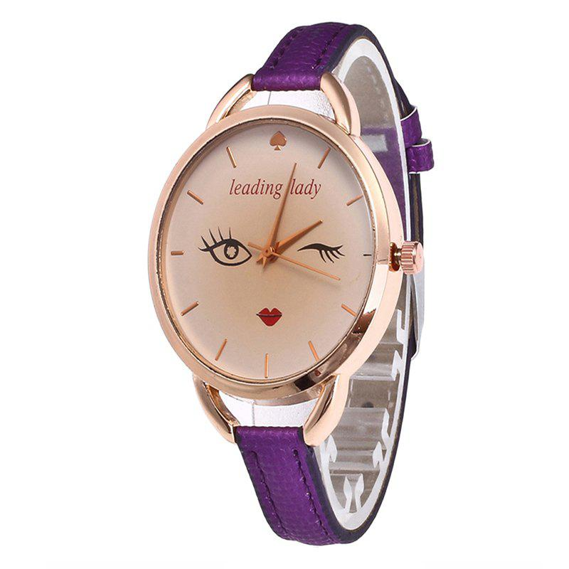 Trendy Big Eyes Red Lipstick Women Quartz Watch