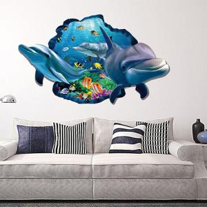 Dolphin 3D Wall Stickers Creative Home Background Adornment Stereo Feel Ocean -