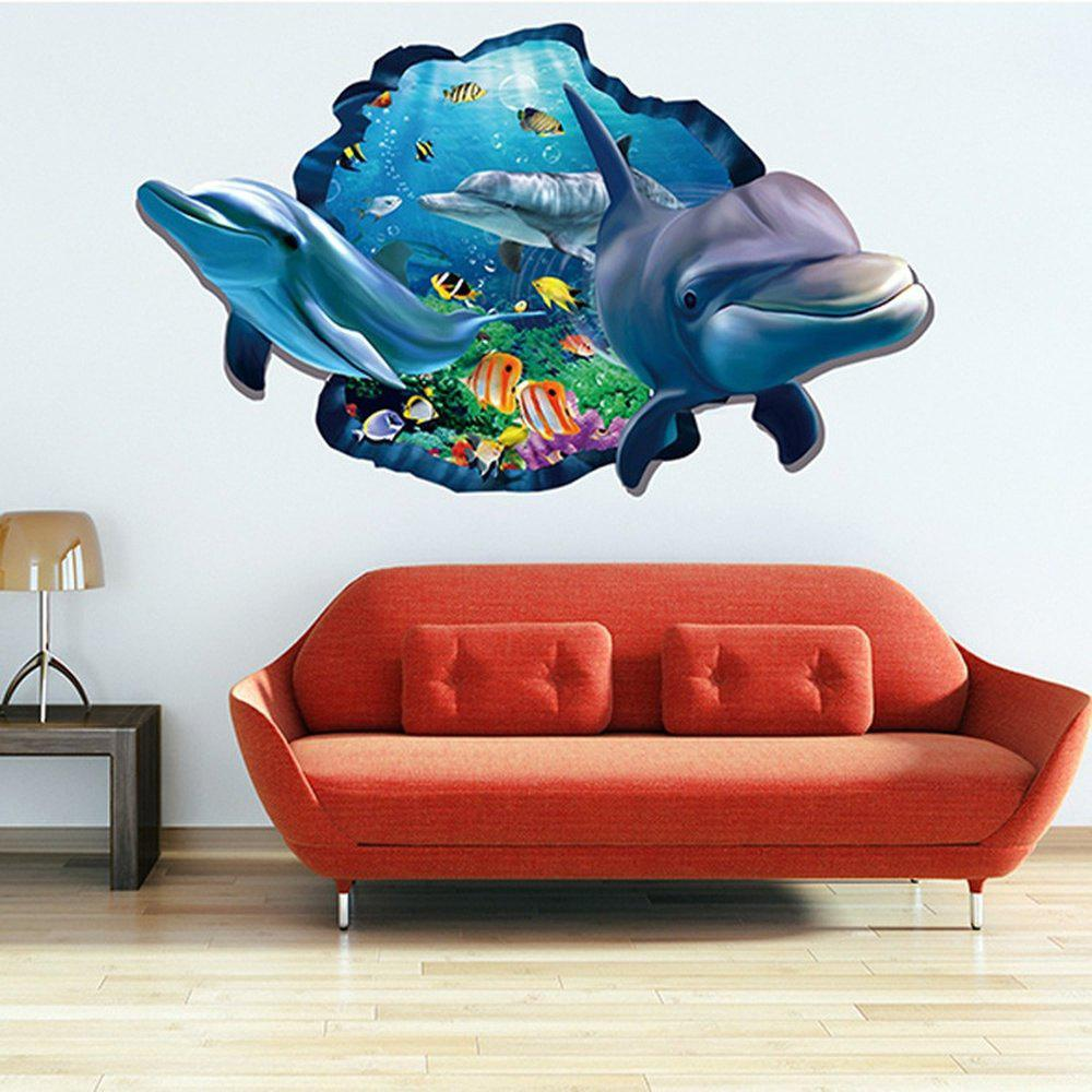 Outfit Dolphin 3D Wall Stickers Creative Home Background Adornment Stereo Feel Ocean