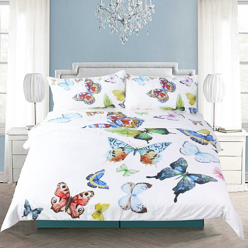 Flying Butterflies Bedding Housse de couette Set Digital Print 3pcs