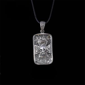Fashion Personality Cross Alien Devil Necklace Men Simple Titanium Steel Pendant -