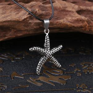Fashion Personality Starfish Necklace Men Simple Titanium Steel Pendants -