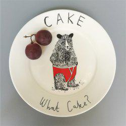 Creative Nordic Style Cartoon Animals Ceramic Dinner Plate Round Dish -