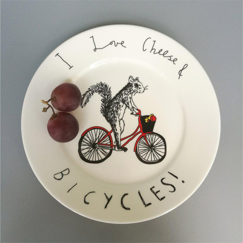 Outfit Creative Nordic Style Cartoon Animals Ceramic Dinner Plate Round Dish