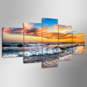 5 Panel Hd Modern Surf Sunset Art Print Canvas Art Wall Framed Paintings -