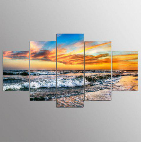 Fancy 5 Panel Hd Modern Surf Sunset Art Print Canvas Art Wall Framed Paintings