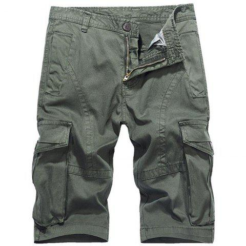 Affordable Men's Plus Size Summer Pockets Straight Tooling Shorts