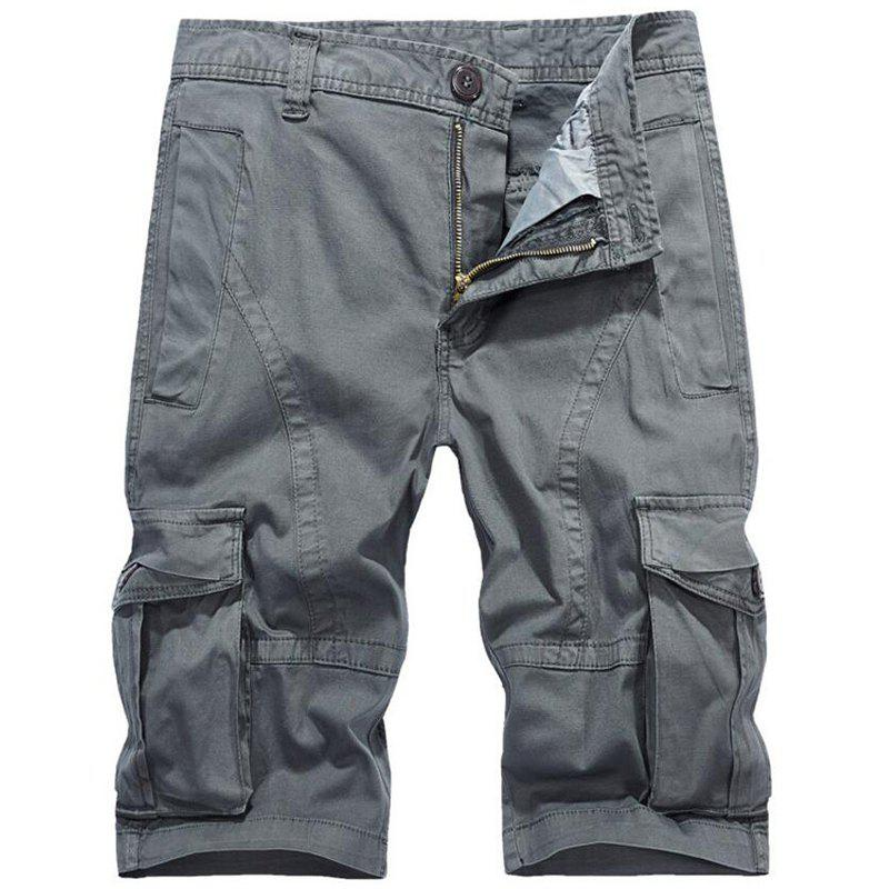 Online Men's Plus Size Summer Pockets Straight Tooling Shorts