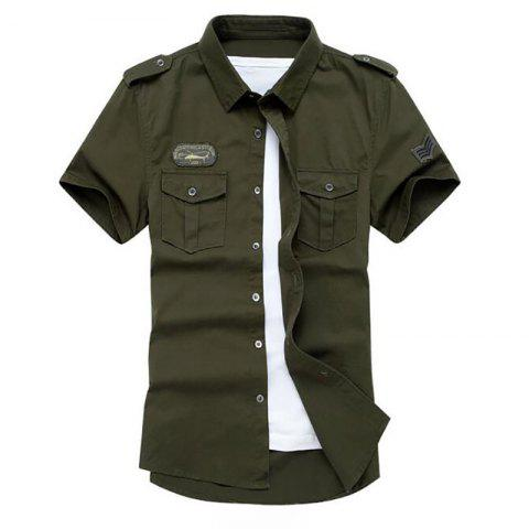 Store Men's Military Pocket Epaulet Short Sleeve Cotton Shirt