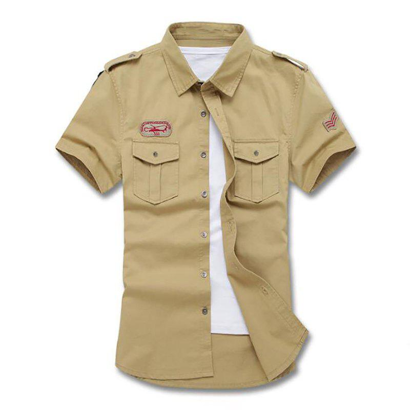 Buy Men's Military Pocket Epaulet Short Sleeve Cotton Shirt