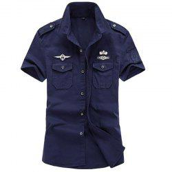 Men's Plus Size Military Pocket Epaulet Short Sleeve Cotton Shirt -