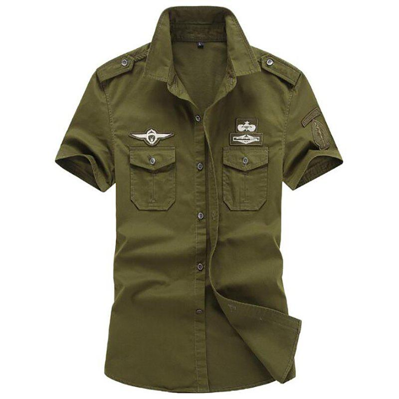 Fancy Men's Plus Size Military Pocket Epaulet Short Sleeve Cotton Shirt