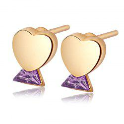 Fashion Simple Heart Fine Zircon Earrings ERZ0279 -