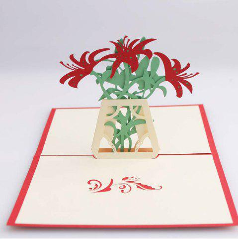 New 3D Pop up Greeting Card Handmade Flower Vase