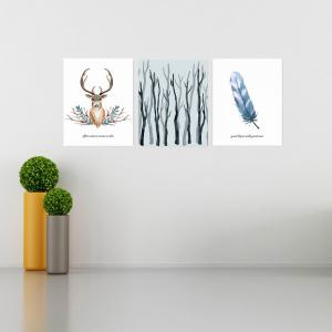 W165 Nordic Style Animal Unframed Wall Canvas Prints for Home Decorations 3PCS -