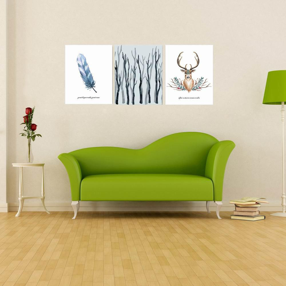 Discount W165 Nordic Style Animal Unframed Wall Canvas Prints for Home Decorations 3PCS