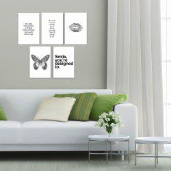 W168 Nordic Style Letters Unframed Canvas Prints for Home Decorations 5 PCS -