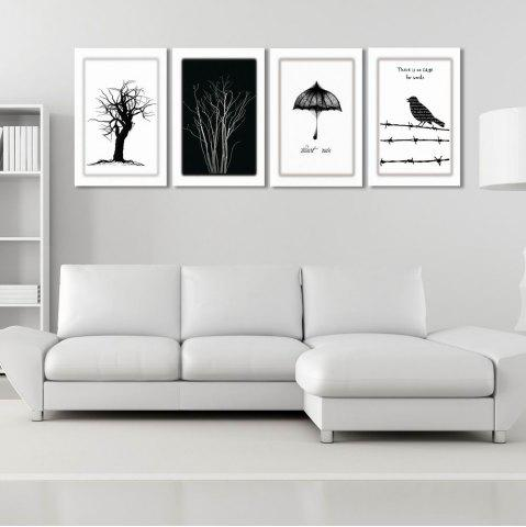 Chic W170 Tree and Bird Unframed Art Wall Canvas Prints for Home Decorations 4PCS