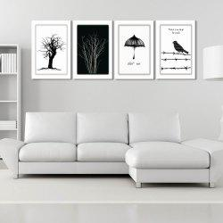 W170 Tree and Bird Unframed Art Wall Canvas Prints for Home Decorations 4PCS -