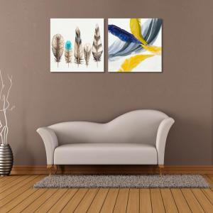 W178 Colorful Feathers Unframed Wall Canvas Prints for Home Decorations 2 PCS -