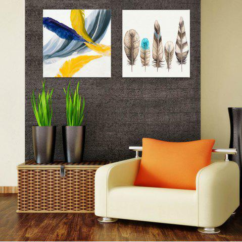 Best W178 Colorful Feathers Unframed Wall Canvas Prints for Home Decorations 2 PCS