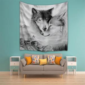 Couple Wolves 3D Printing Home Wall Hanging Tapestry for Decoration -